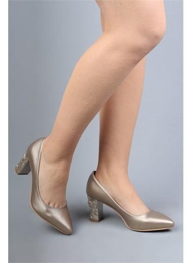 Modabuymus Modabuymus Kabartma Topuklu   Stiletto Kadın Ayakkabı Altın